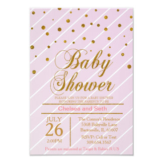 Sweet Baby Pink & Gold Confetti   Baby Shower 3.5x5 Paper Invitation Card
