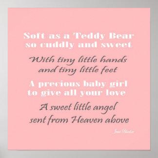 Sweet Baby pink nursery wall art baby decor Poster