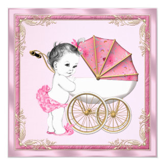 Sweet Baby Pram Pink and Gold Baby Girl Shower Personalized Announcement