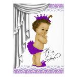 Sweet Baby Purple and Gray Baby Shower Custom Invite