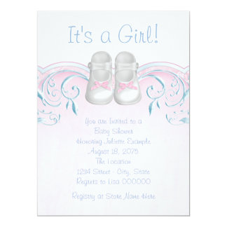 Sweet Baby Shoes Pink and Blue Baby Shower Card