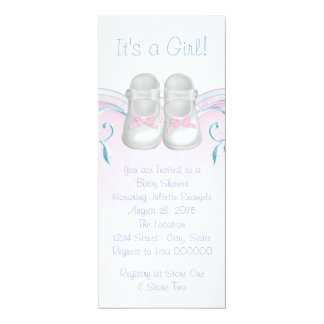"""Sweet Baby Shoes Pink and Blue Baby Shower 4"""" X 9.25"""" Invitation Card"""