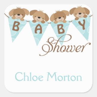 Sweet baby shower puppy stickers