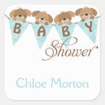 Sweet baby shower puppy stickers square sticker