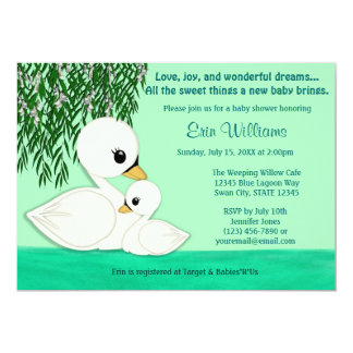 Sweet Baby Swan Baby Shower invitation Mommy Kiss