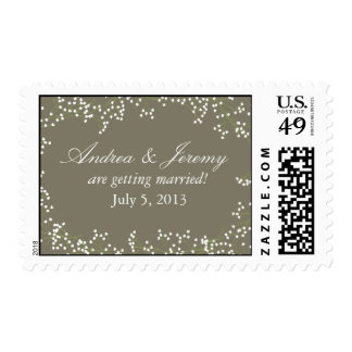 Sweet Baby's Breath Wedding Date Postage Stamps
