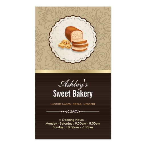 Sweet Bakery Boutique - Breads Donut Toast Dessert Business Card Template (front side)