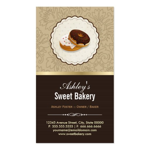 Sweet Bakery Boutique - Breads Donut Toast Dessert Business Card Template (back side)