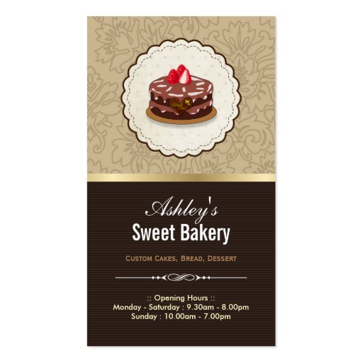 Sweet Bakery Boutique - Cakes Chocolates Pastry Double-Sided Standard Business Cards (Pack Of 100)