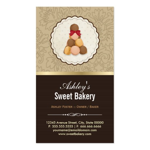 Sweet Bakery Boutique - French Parisian Macaroons Business Cards (back side)