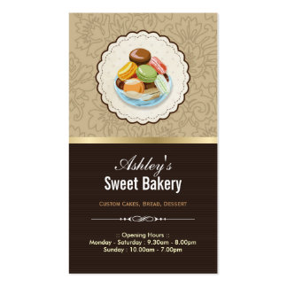 Sweet Bakery Boutique - French Parisian Macaroons Double-Sided Standard Business Cards (Pack Of 100)