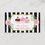 """Sweet Bakery Cupcakes Gold Pink Floral Striped Business Card<br><div class=""""desc"""">Make a great impression with this stylish &quot;Sweet Cupcakes Gold Pink Floral Striped&quot; Business Card for your Bakery Store. Create yours today! (1) For further customization, please click the &quot;Customize&quot; button and use our design tool to modify this template. All text style, colors, sizes can be modified to fit your...</div>"""