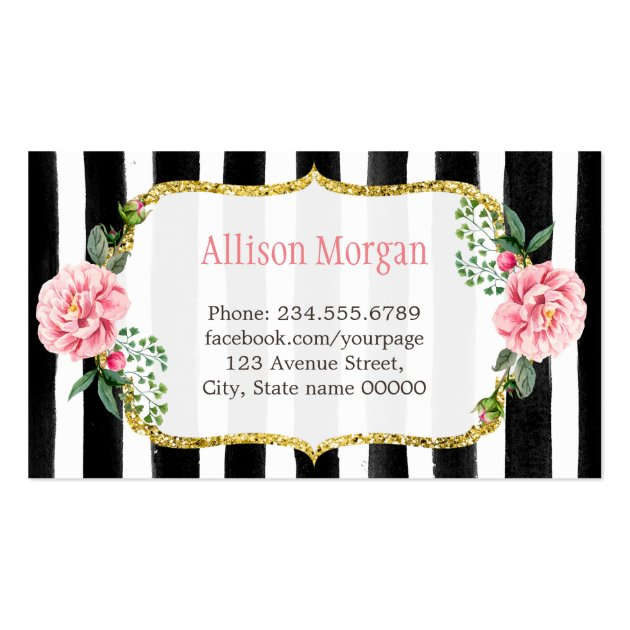 Sweet Bakery Cupcakes Gold Pink Floral Striped Business Card (back side)