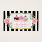 Sweet Bakery Cupcakes Gold Pink Floral Striped Business Card