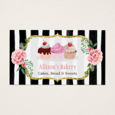 Sweet Bakery Cupcakes Gold Pink Floral Striped Business Card at Zazzle