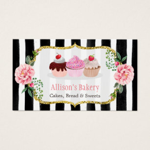 Cupcake business cards 3900 cupcake business card templates sweet bakery cupcakes gold pink floral striped business card cheaphphosting Image collections