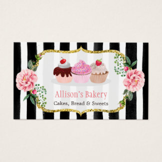 Sweet Bakery Cupcakes Gold Pink Fl Striped Business Card