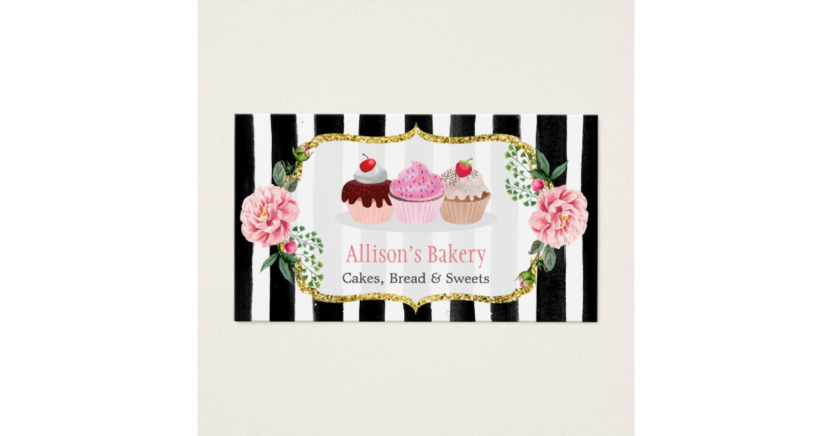 Sweet Bakery Cupcakes Gold Pink Floral Striped Business Card ...