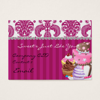 Sweet Bakery Damask Design  Business Card diamonds