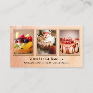 Sweet Bakery Dessert Photo Business Card