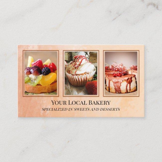 Sweet Bakery Dessert Photo Business Card