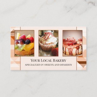 Sweet Bakery Pastry Photo Business Card