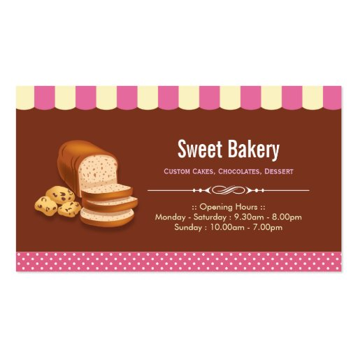 Sweet Bakery Shop - Breads Rolls Toasts Dessert Business Card (front side)