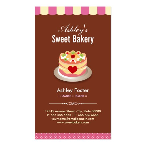 Sweet Bakery Shop - Custom Cakes Chocolates Pastry Business Card Templates (back side)