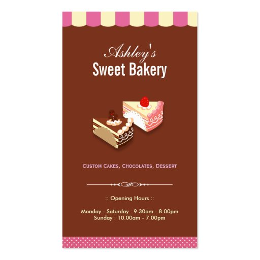 Sweet Bakery Shop - Custom Cakes Chocolates Pastry Business Card Templates (front side)