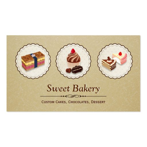 Sweet Bakery Store Custom Cakes Chocolates Dessert Business Card Templates