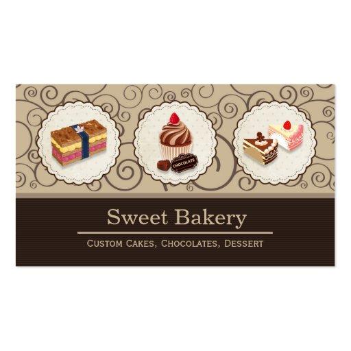 Sweet Bakery Store Custom Cakes Chocolates Dessert Business Card