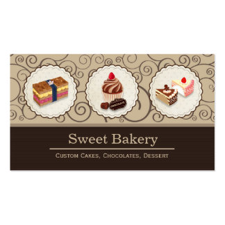 Sweet Bakery Store Custom Cakes Chocolates Dessert Double-Sided Standard Business Cards (Pack Of 100)