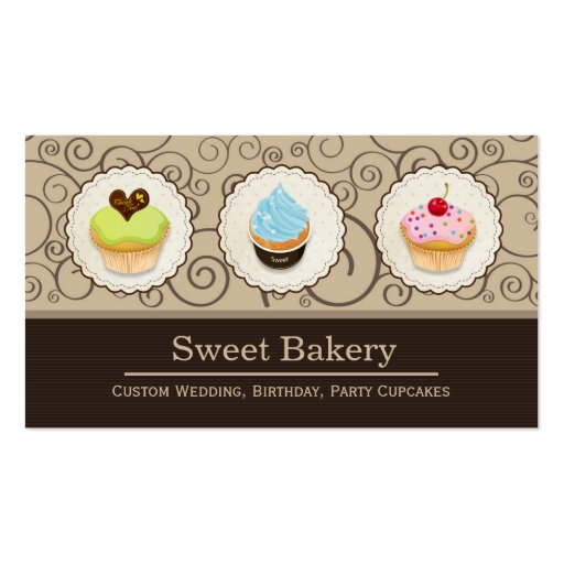 Sweet Bakery Store - Lovely Custom Cupcakes Business Card (front side)
