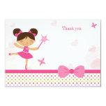 "Sweet ballerina girl's birthday thank you card 3.5"" x 5"" invitation card"