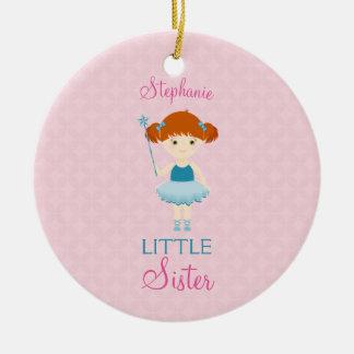 Sweet Ballerina Little Sister Ceramic Ornament