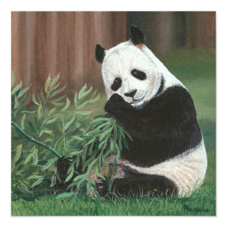 Sweet Bamboo Panda Bear  invitation card