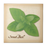 """Sweet Basil Herb Tile<br><div class=""""desc"""">Sweet Basil , a very popular herb, aromatic leaves season pasta dishes, pesto, salads, soups, meats, poultry, Italian and Asian cuisines. See more products with this design in this store&#39;s Herbs and Spices Category/ Sweet Basil. Just click my store link or icon and scroll to find them. Visit my other...</div>"""