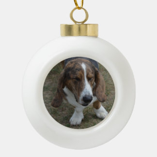 Sweet Basset Hound Ceramic Ball Christmas Ornament