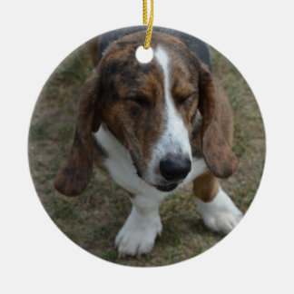 Sweet Basset Hound Ceramic Ornament