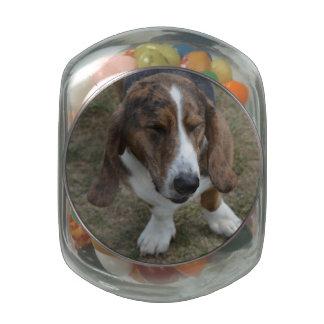 Sweet Basset Hound Glass Candy Jars