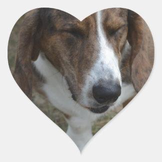 Sweet Basset Hound Heart Sticker