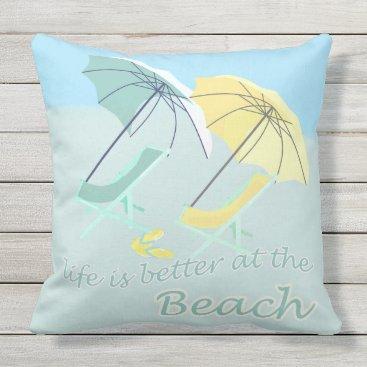 Sweet Beach House Better Life Outdoor Pillow