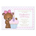 "Sweet Bear Cupcake Birthday Invitation 5"" X 7"" Invitation Card"