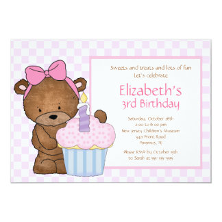Sweet Bear Cupcake Birthday Invitation