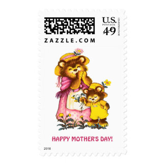 Sweet Bear Family. Mother's Day Postage Stamps