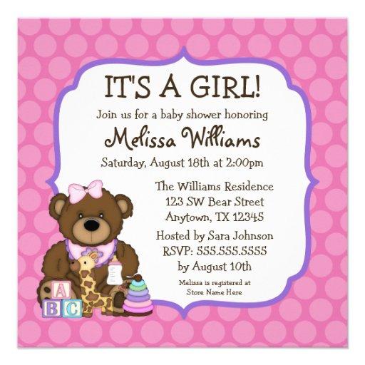 Sweet Bear Pink Dots Girl Baby Shower Invitations