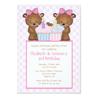 "Sweet Bears Cupcake Twins Birthday Invitation 5"" X 7"" Invitation Card"