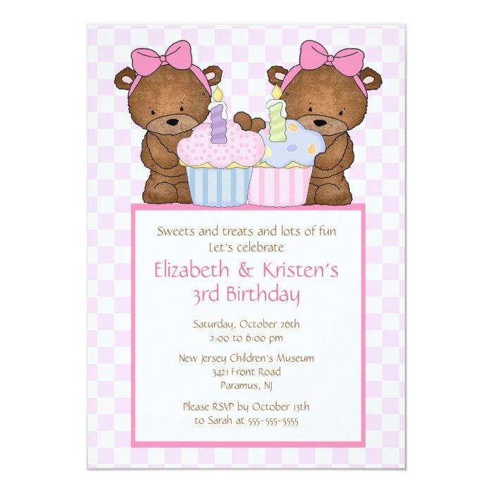 Sweet Bears Cupcake Twins Birthday Invitation