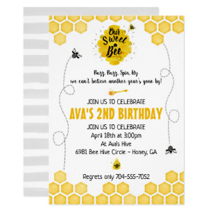 Bee birthday invitations zazzle sweet bee birthday invitation filmwisefo