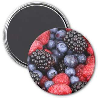 Sweet Berry Medley Print 3 Inch Round Magnet